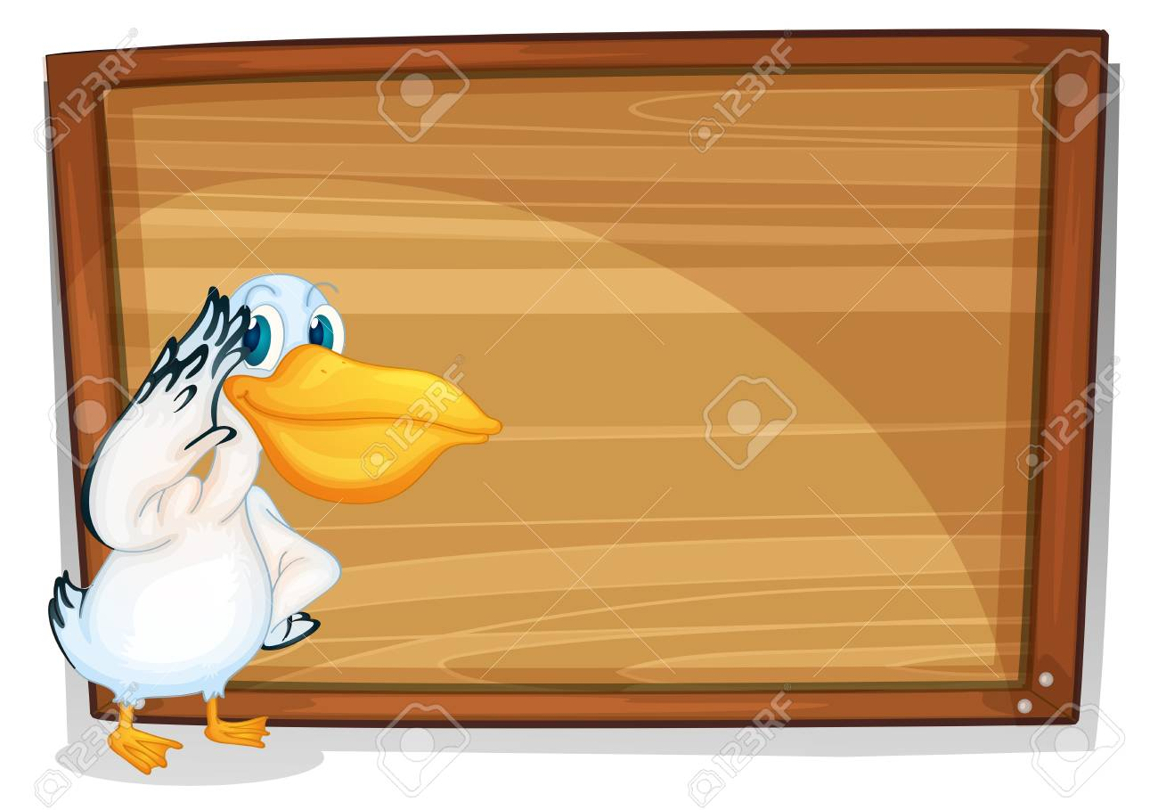 Illustration of a bird beside a wooden board on a white background Stock Vector - 18981082