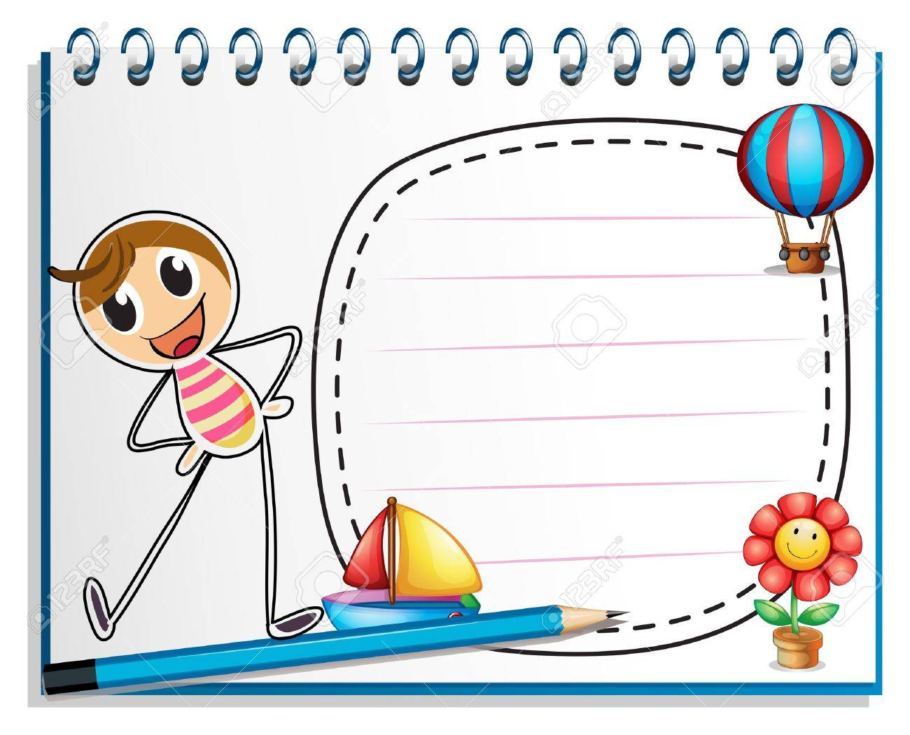 Illustration of a notebook with a drawing of a person exercising beside an empty space on a white background Stock Vector - 18981018