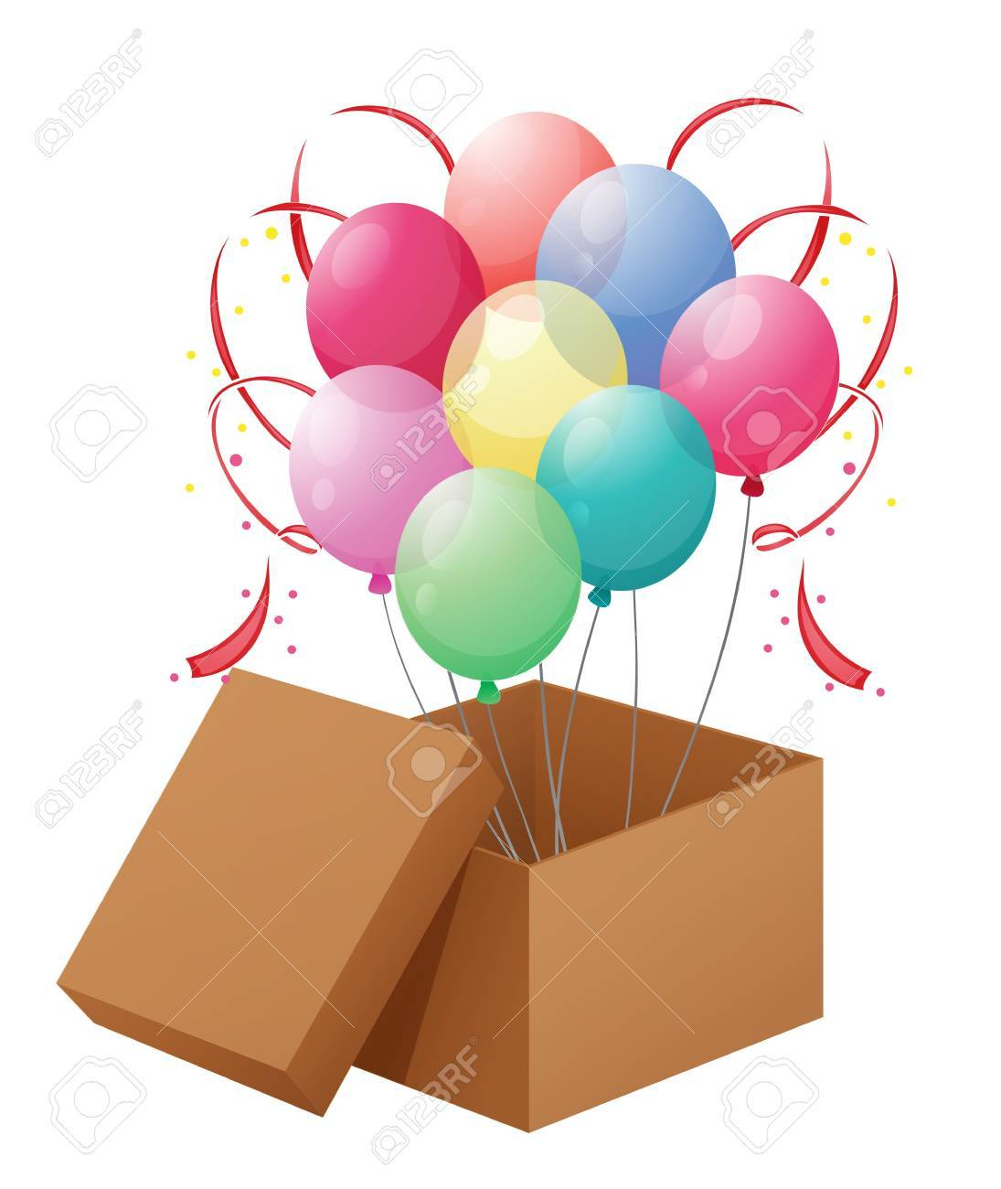 Illustration of the balloons in the box on a white background Stock Vector - 18981070