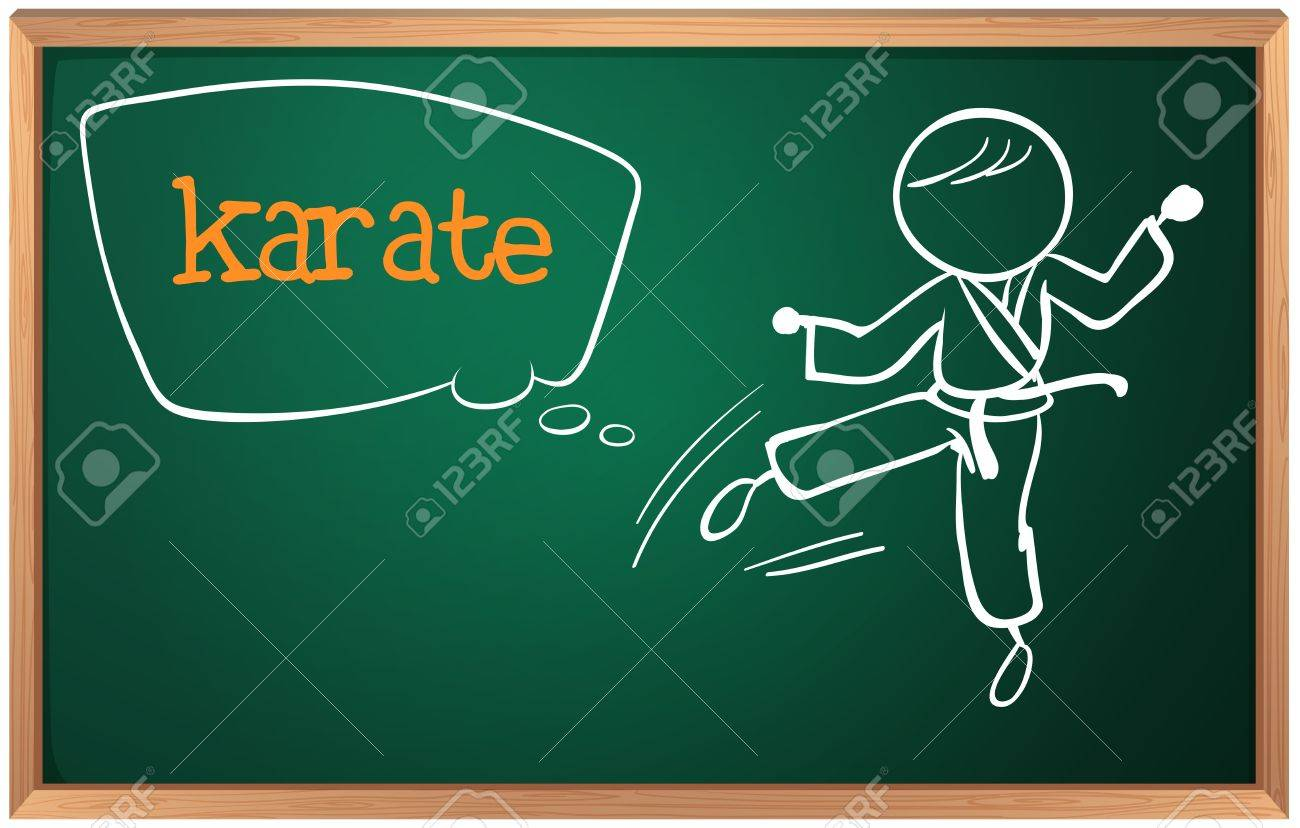 Illustration of a blackboard with a drawing of a man doing karate Stock Vector - 18980991