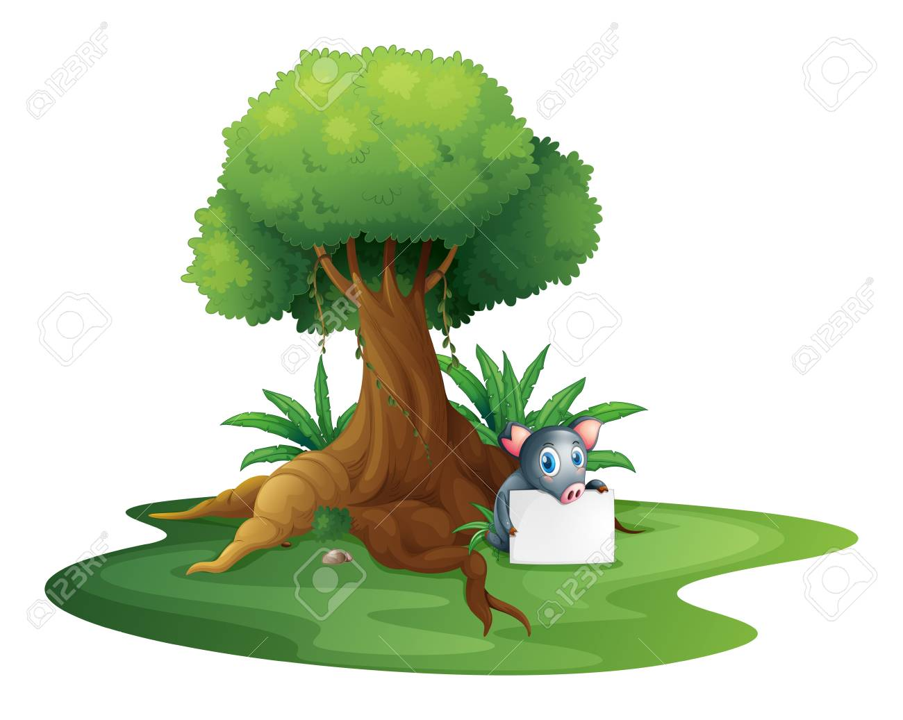 Illustration of a pig holding a signage under the tree on a white background Stock Vector - 18981137