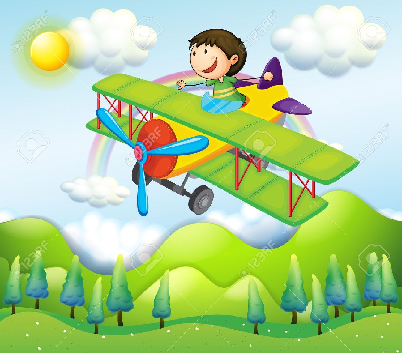 Illustration of a young man riding in a colorful plane Stock Vector - 18981228