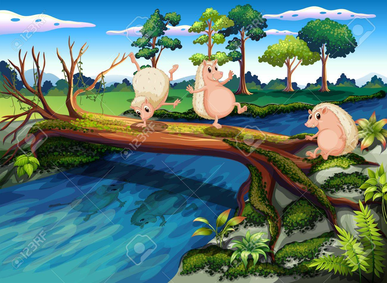 Illustration of the hedgehogs playing at the river Stock Vector - 18981280