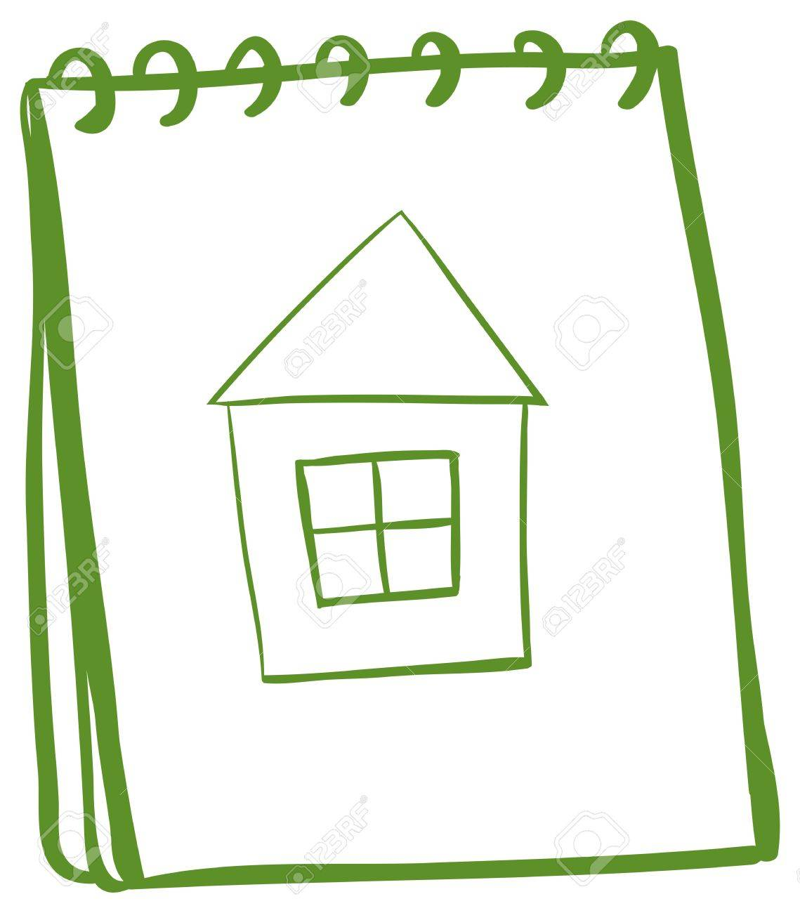 Illustration of a notebook with a sketch of a house at the cover page on a white background Stock Vector - 18983264
