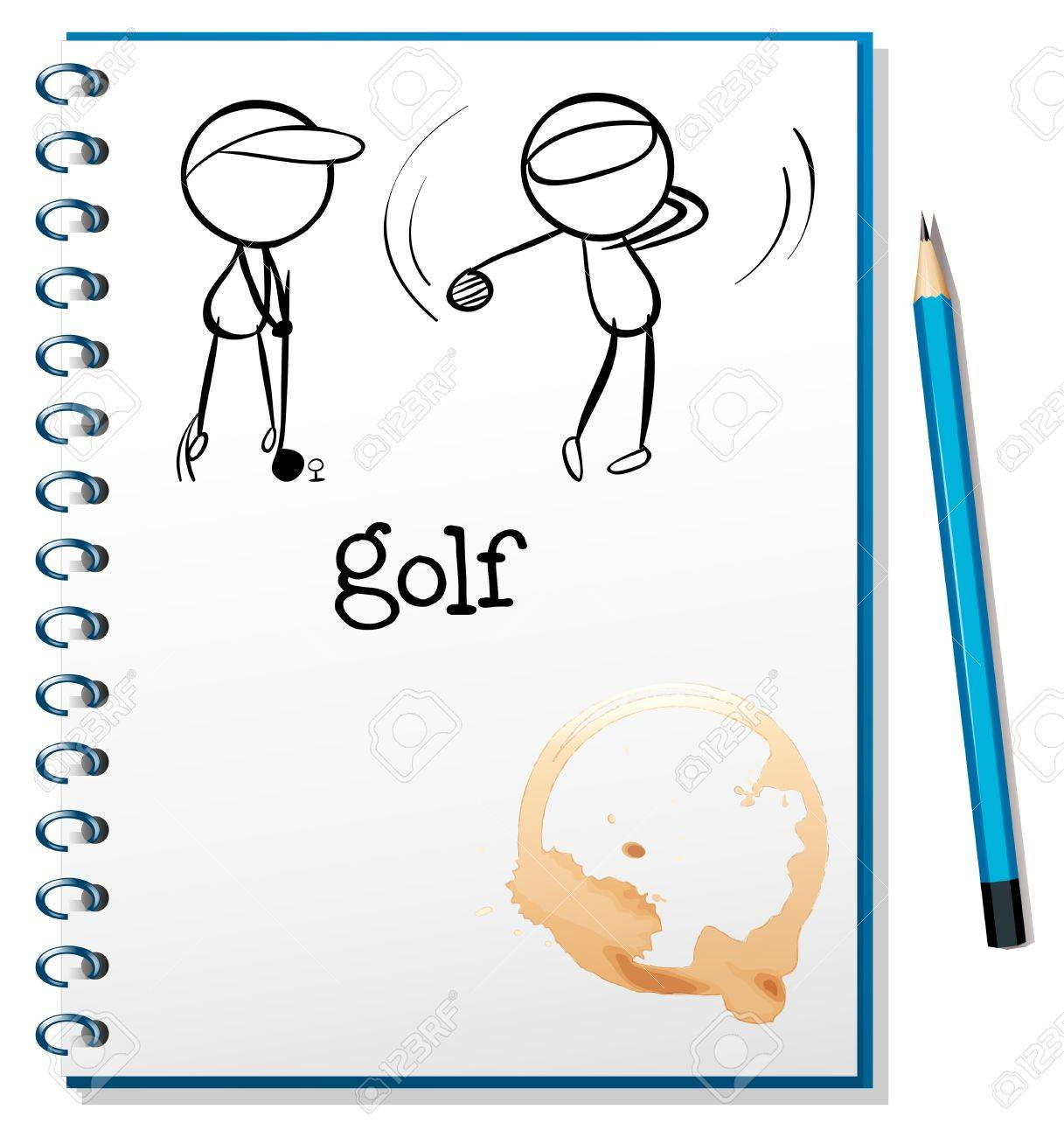 Illusration of a notebook with a sketch of two people playing golf on a white background Stock Vector - 18983337