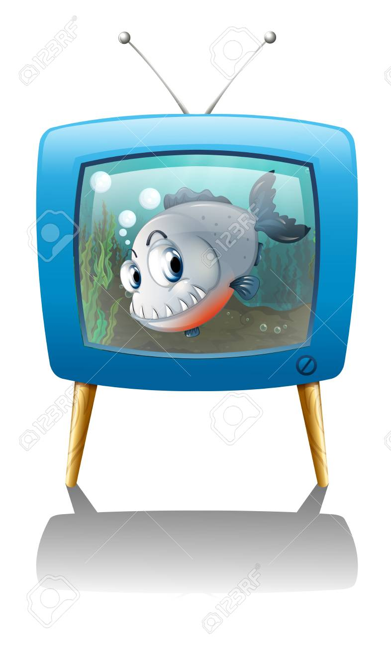 Illustration of a big fish in the television on a white background Stock Vector - 18983690