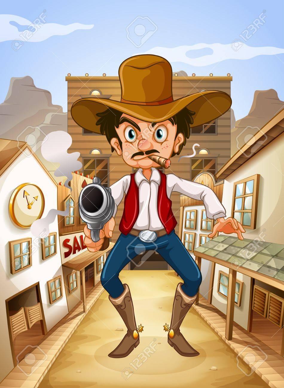 Illustration of a Mexican man holding a gun Stock Vector - 18983692