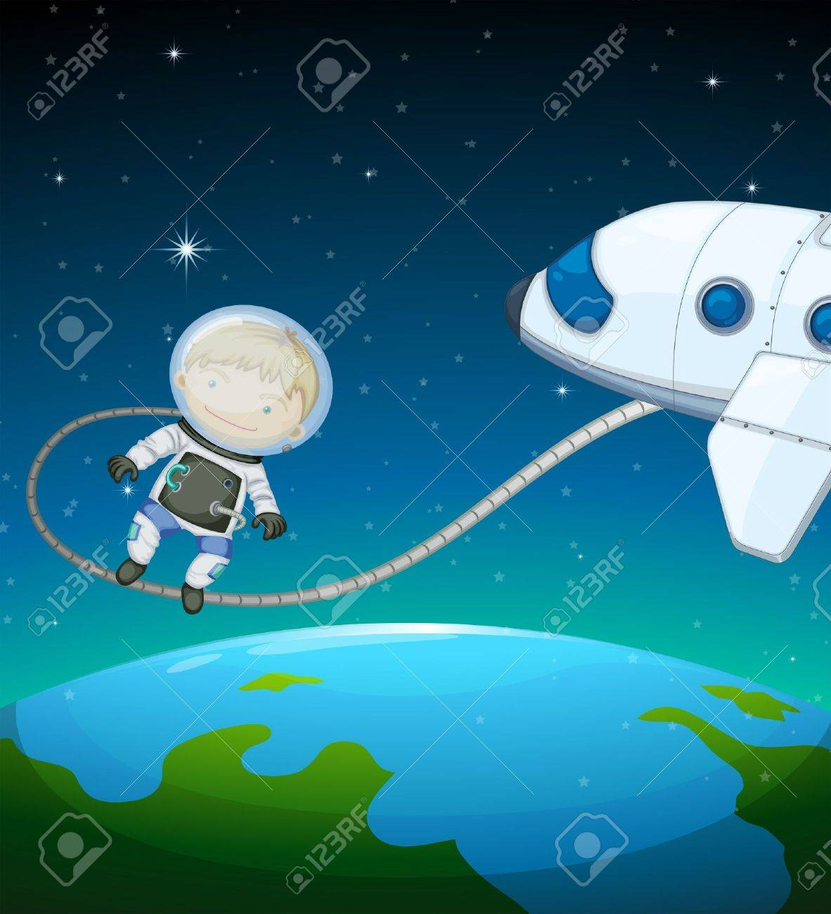 Illustration of an astronaut in the outer space Stock Vector - 18983435