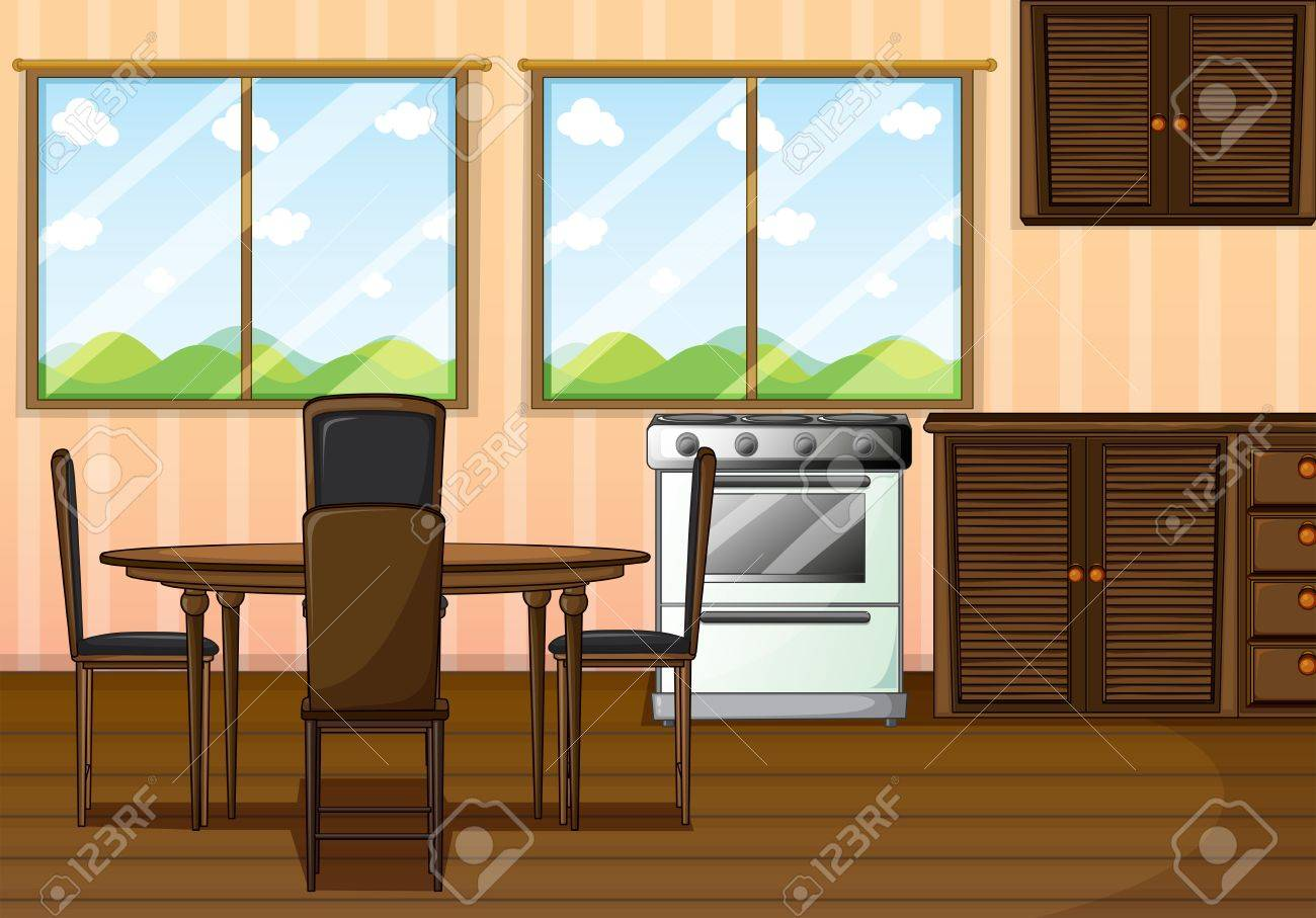 Illustration of a clean dining room Stock Vector - 18983414