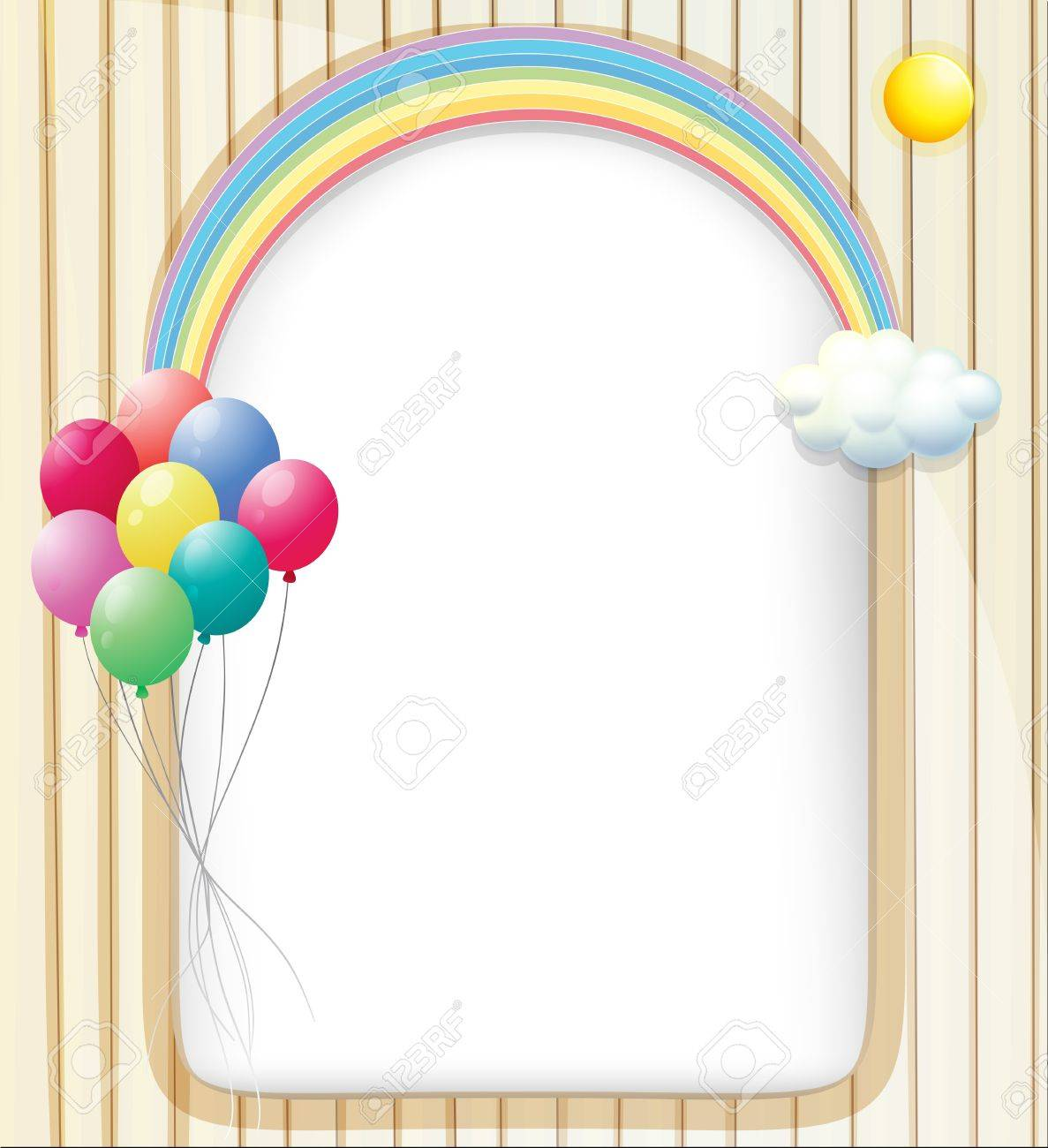 Illustration Of An Empty Template With A Rainbow And Balloons – Rainbow Template