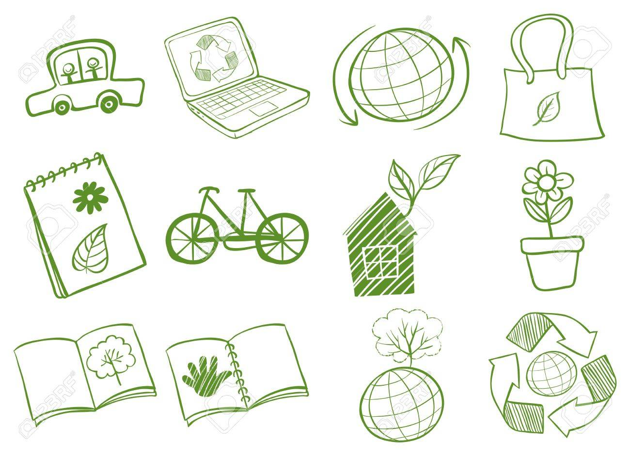 Illustration of the eco-friendly logo designs on a white background Stock Vector - 18983392