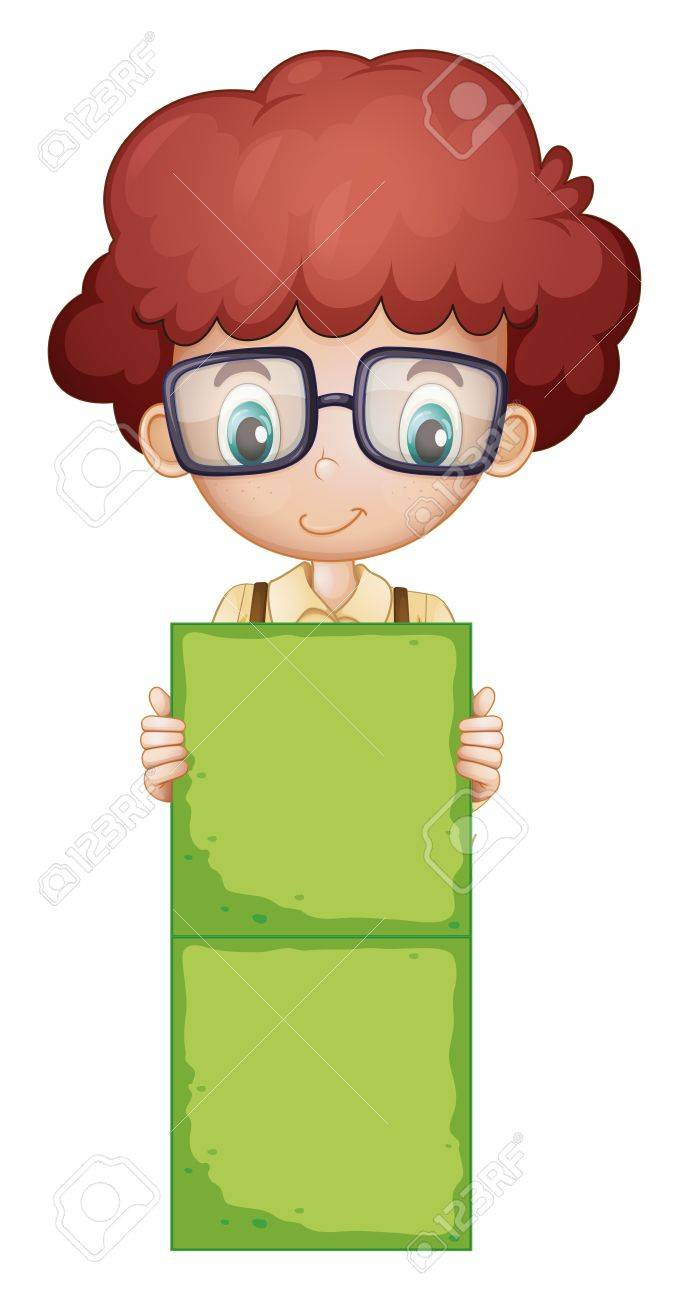 Illustration of a boy holding a green signage on a white background Stock Vector - 19301445