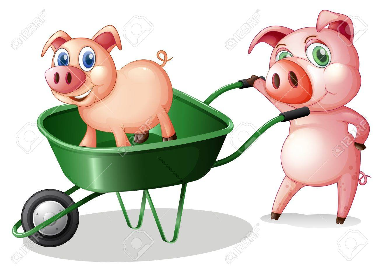 Illustration of the two pigs with a green cart on a white background Stock Vector - 19301562