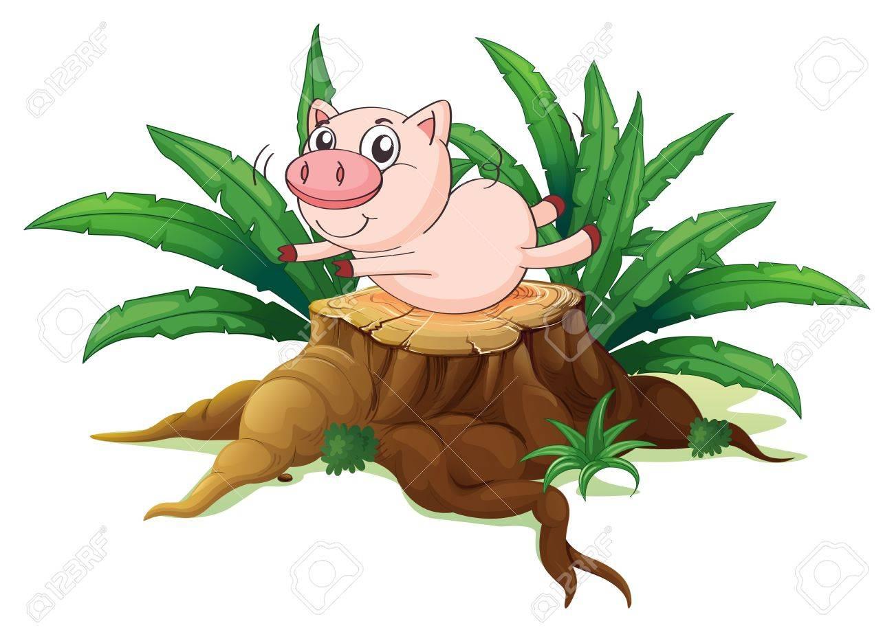 Illustration of a pig balancing above a wood on a white background Stock Vector - 19301938