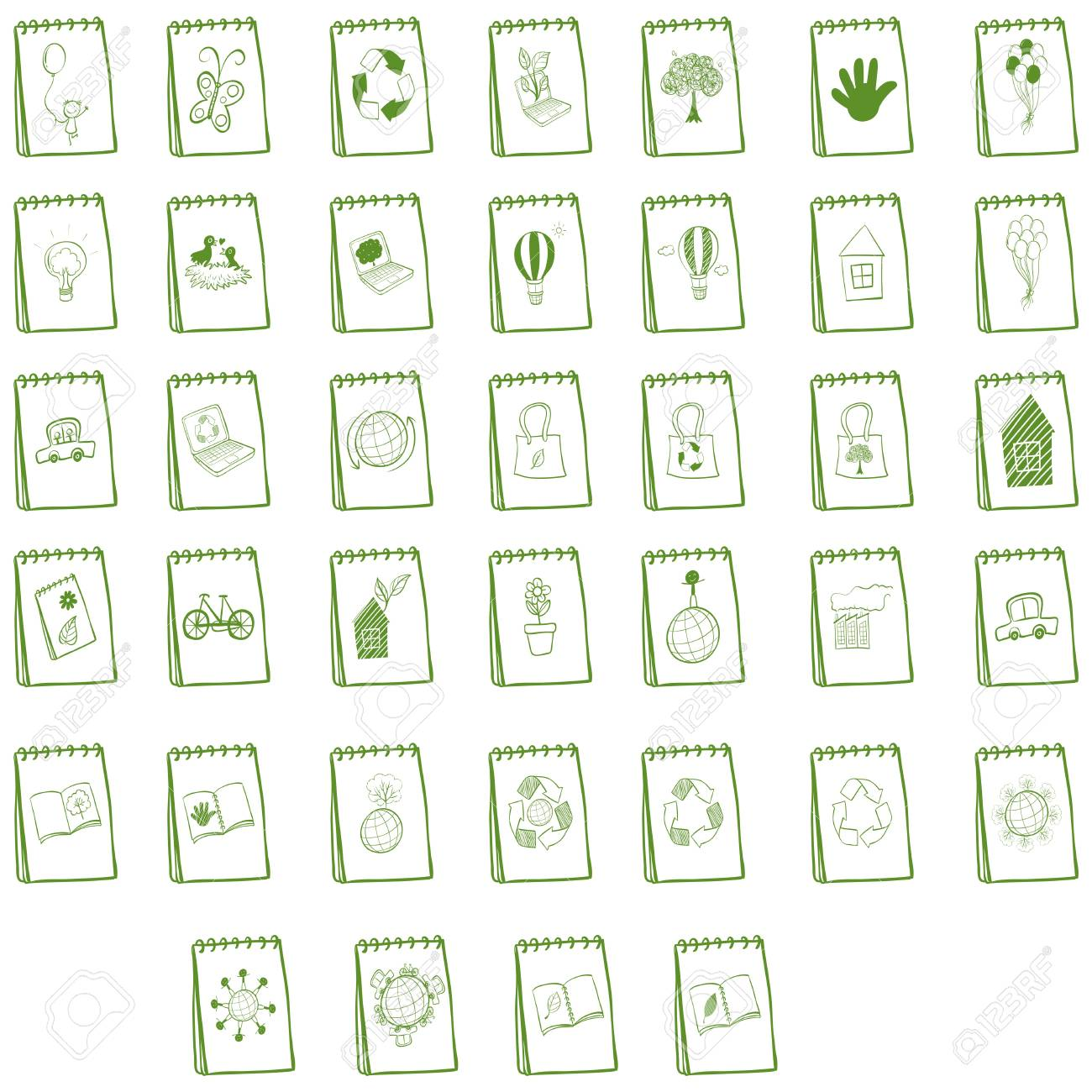 Illustration of the notebooks with eco-friendly logo designs on a white background Stock Vector - 19301749