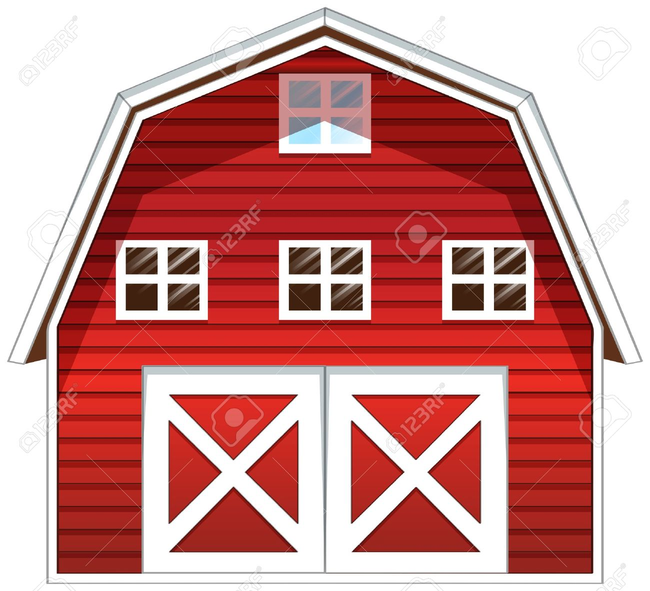 Cartoon red barn doors - Red Barn Illustration Of A Red Barn House On A White Background