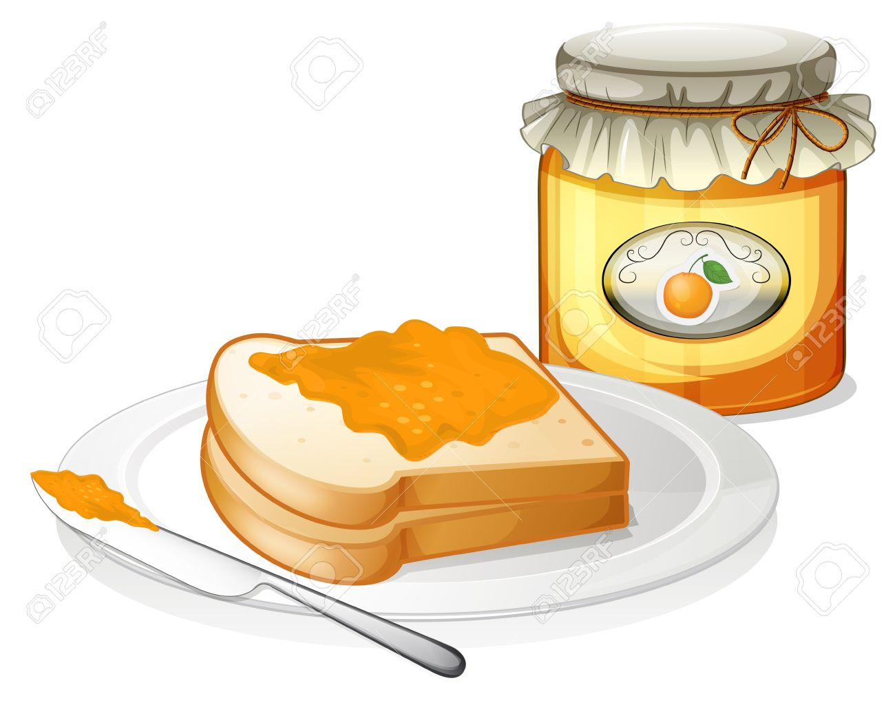 Illustration of a sliced bread with an orange jam on a white background Stock Vector - 19301498