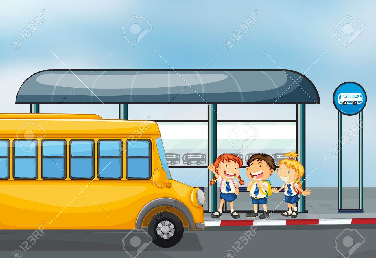 Illustration of a yellow school bus and the three kids Stock Vector - 19301495