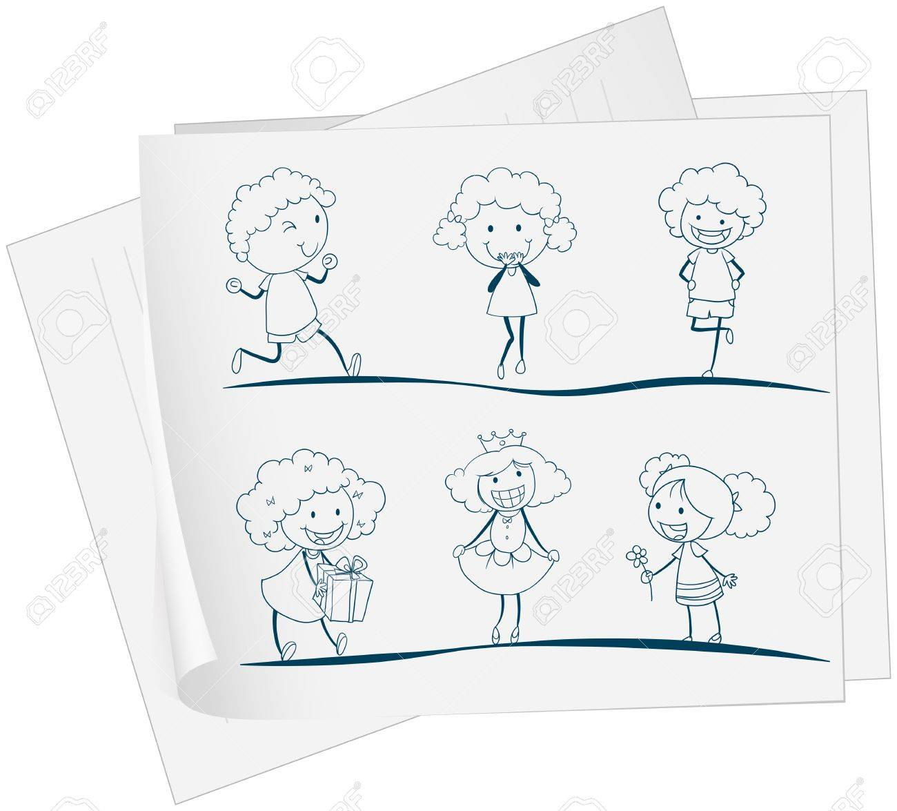 Illustration of a paper with a drawing of a girl in different attires on a white background Stock Vector - 19301450
