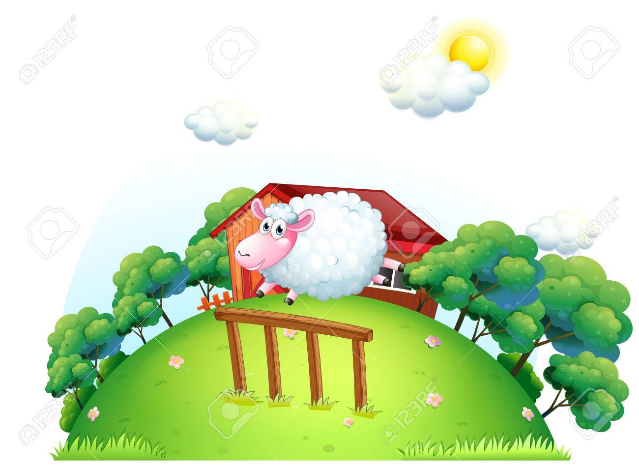 Illustration of a sheep at the barnyard on a white background Stock Vector - 19301676