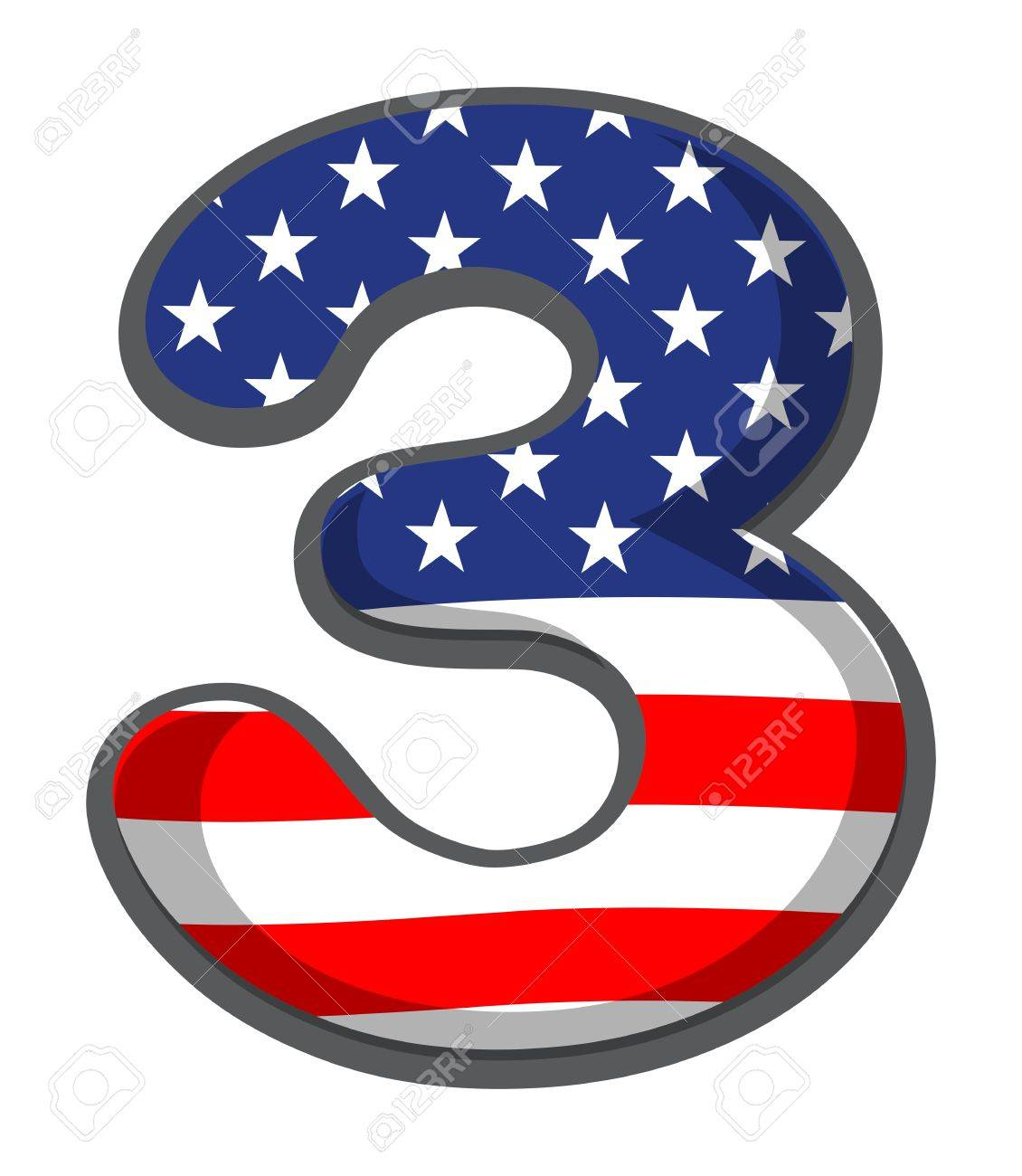 Illustration of a number three figure with the USA symbols on a white background Stock Vector - 19301238
