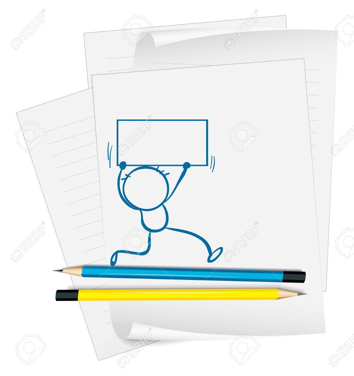 Illustration of a paper with a drawing of a boy holding a signage on a white background Stock Vector - 19301265