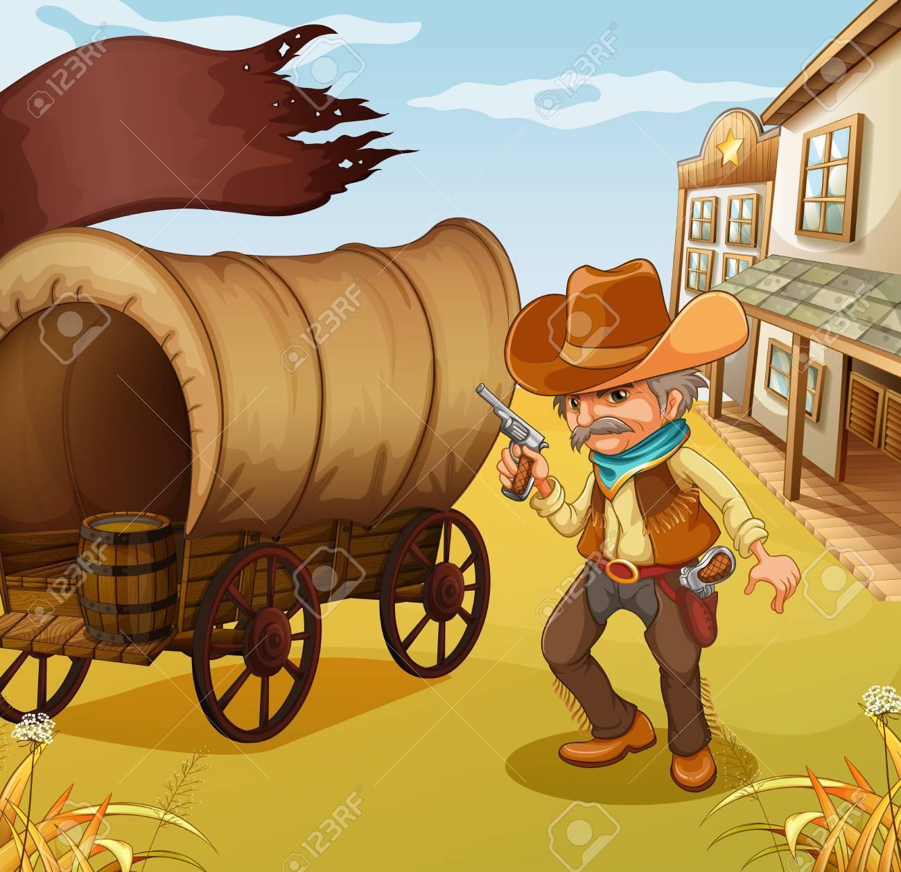 Illustration of a Mexican man holding a gun beside a wagon Stock Vector - 19302035