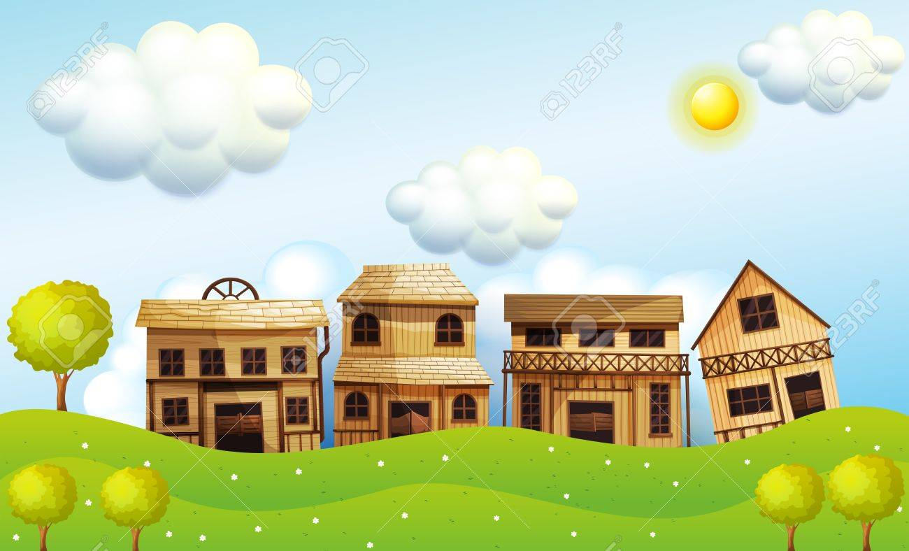 Illustration of the four different kinds of wooden house Stock Vector - 19301677
