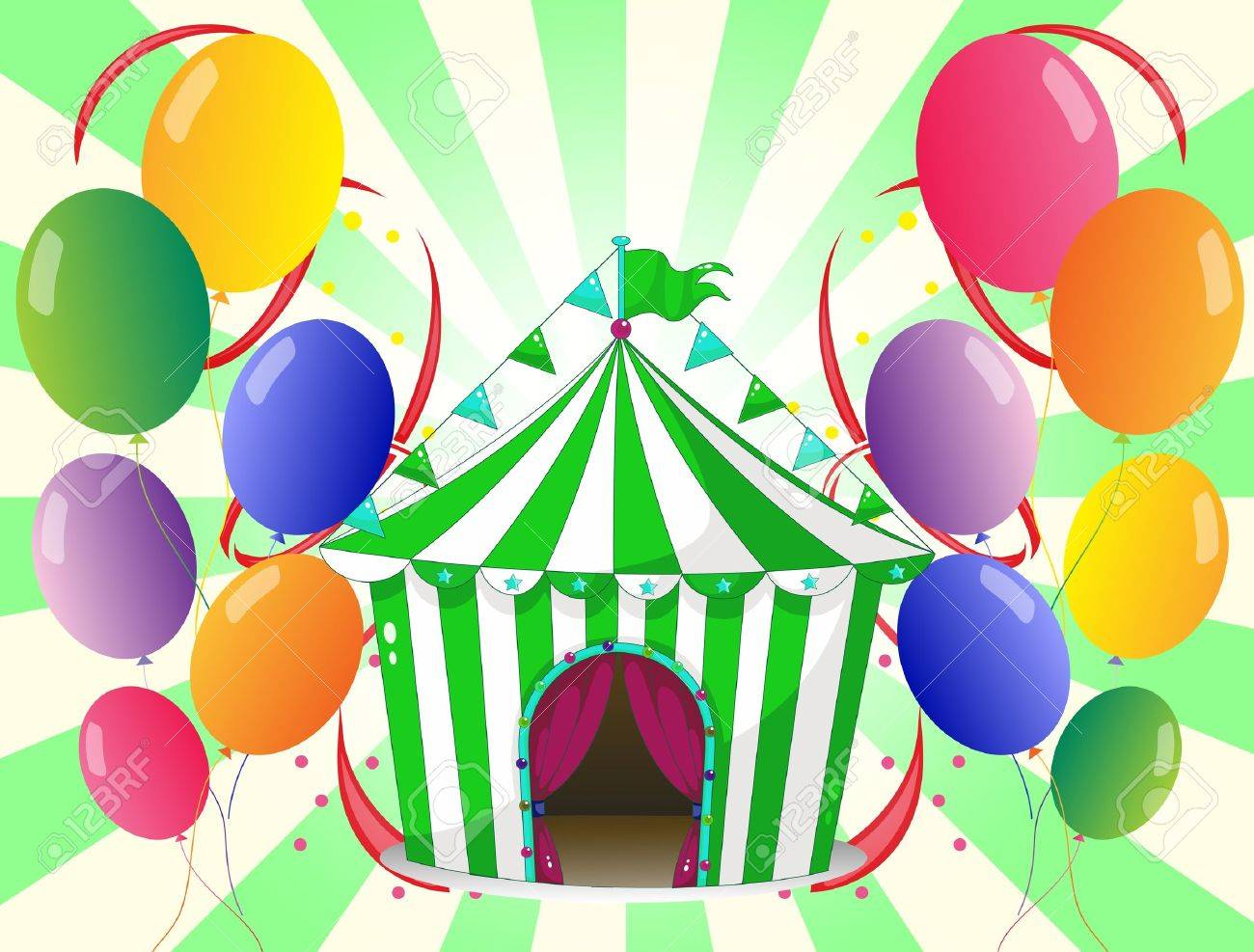 Illustration of a green circus tent at the center of the colorful balloons on a white background Stock Vector - 19301474