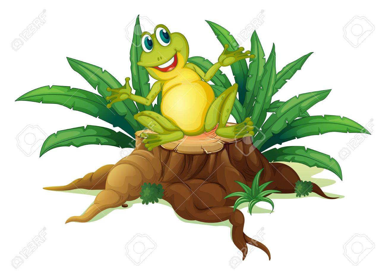 Illustration of a smiling frog above a wood on a white background Stock Vector - 19301836
