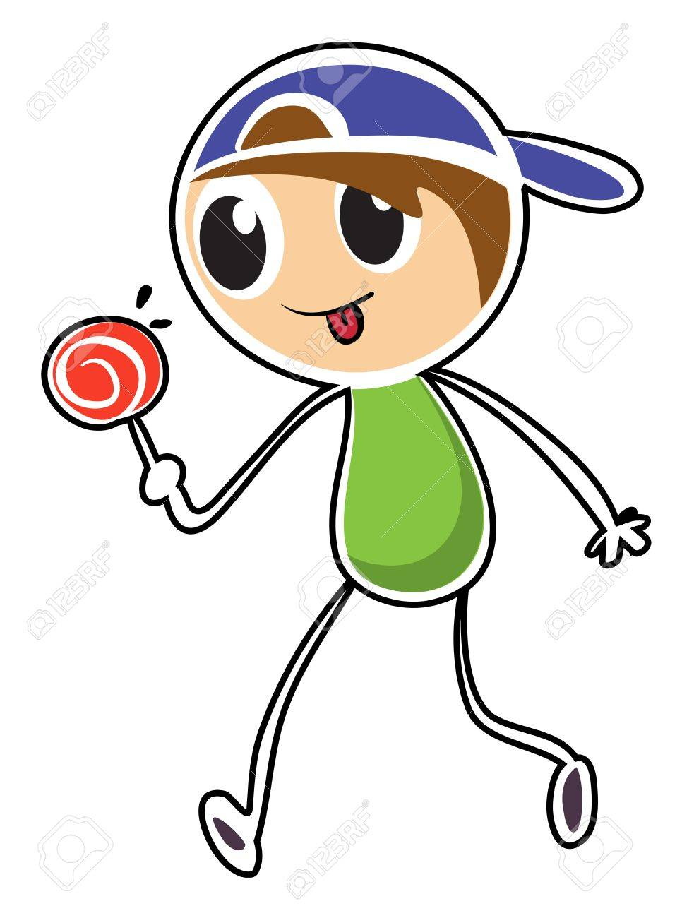 Illustration of a little boy with lollipop on a white background Stock Vector - 19301243