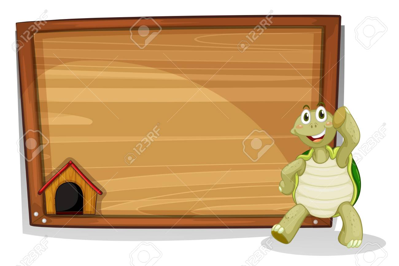 Illustration of a turtle beside a wooden empty board on a white background Stock Vector - 19301426