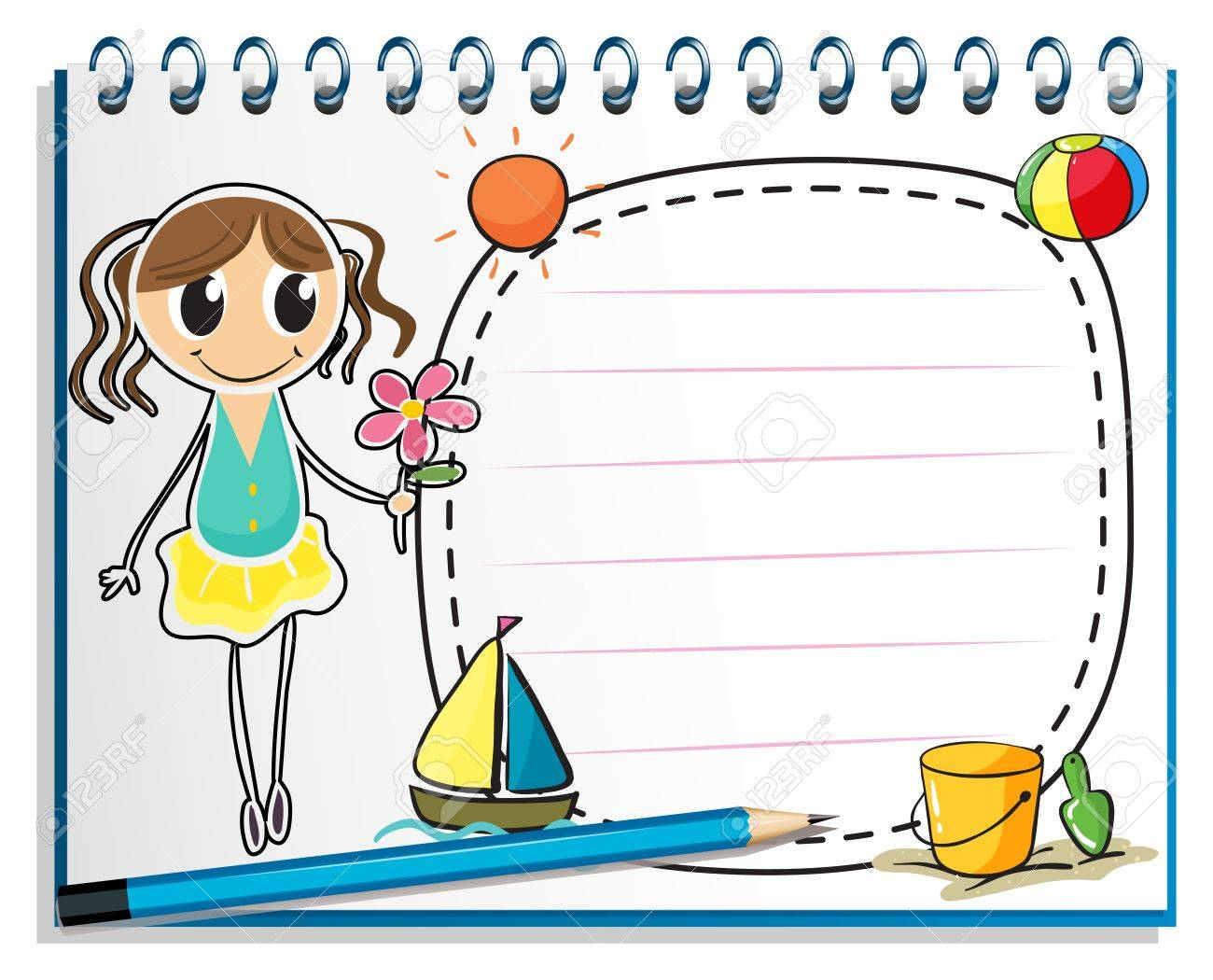 Illustration of a notebook with a drawing of a young girl holding a flower on a white background Stock Vector - 19301303