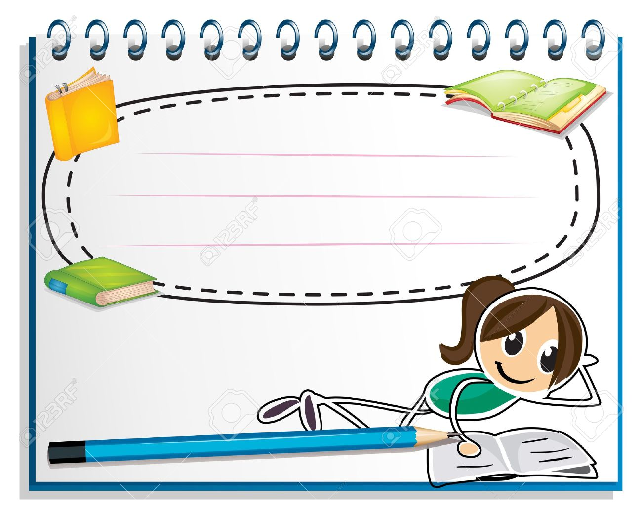 Illustration of a notebook with a drawing of a girl reading on a white background Stock Vector - 19301328