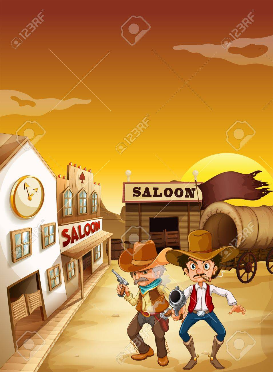 Illustration of the two armed men standing outside the saloon Stock Vector - 19313807