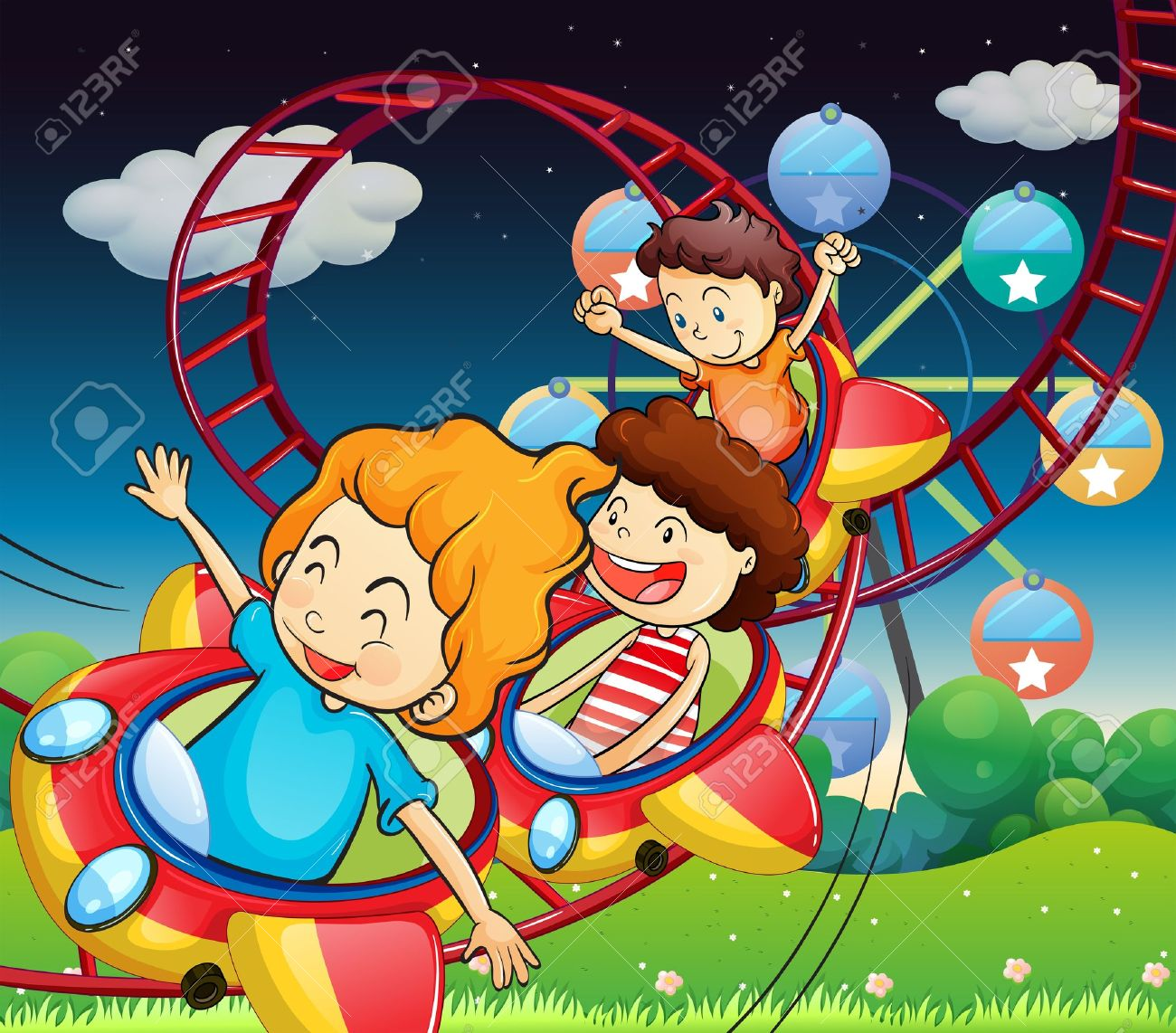 Illustration of the three kids riding in a roller coaster Stock Vector - 19301543
