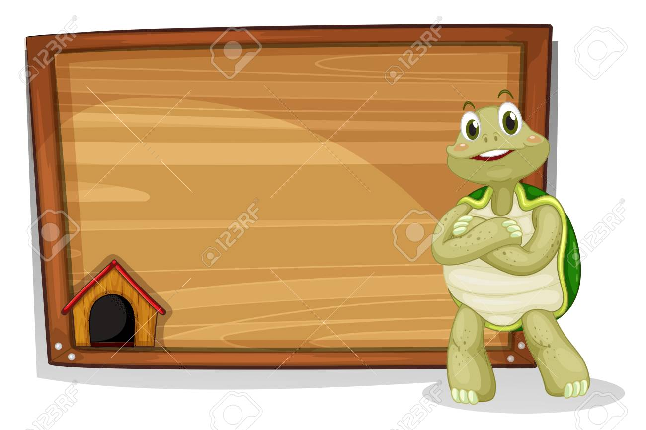 Illustration of a turtle beside a wooden board on a white background Stock Vector - 19301425