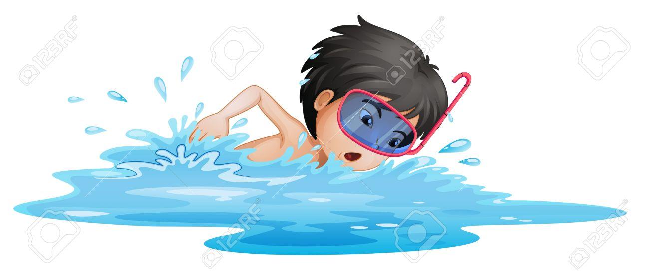 白い背景の上に泳ぐ小さな男の子のイラストのイラスト素材ベクタ