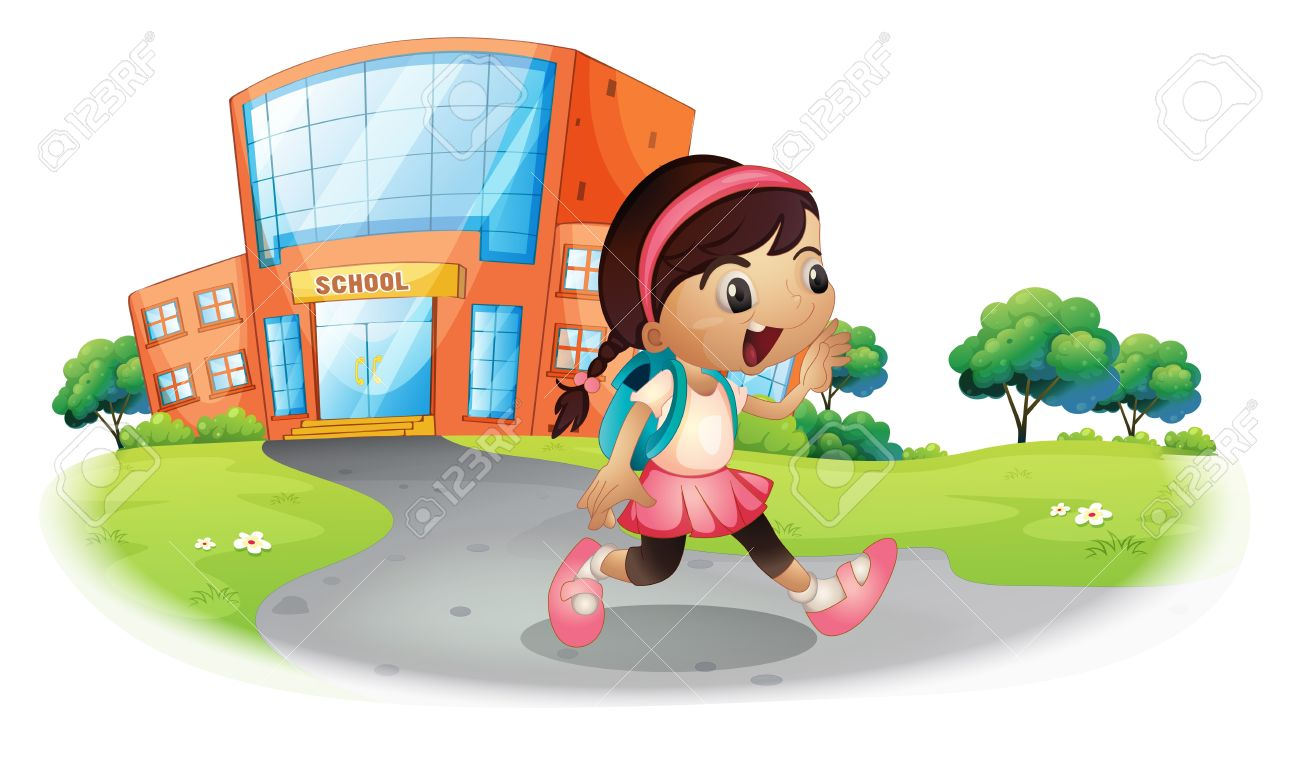 Illustration of a cute student going home from school on a white background Stock Vector - 19389595