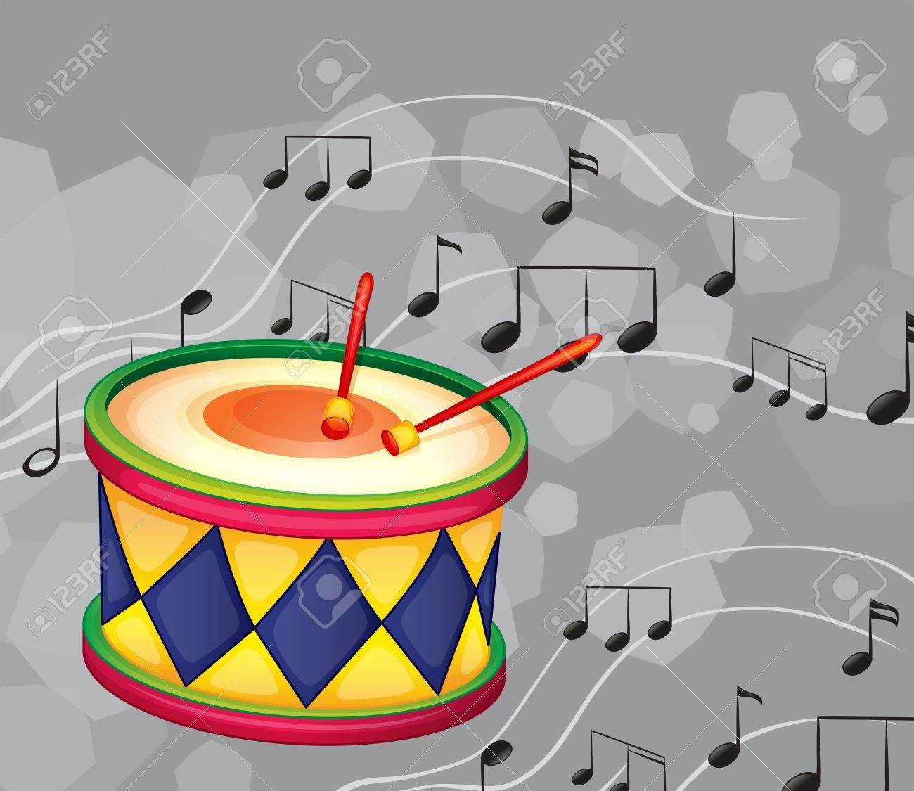 illustration of a drum with musical notes royalty free cliparts rh 123rf com Animated Drums Singing Clip Art