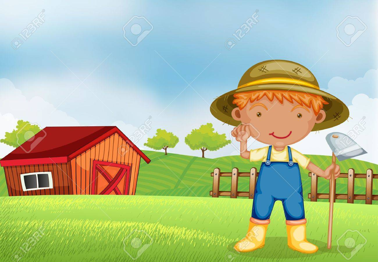 Illustration of a farmer holding a hoe Stock Vector - 19389698