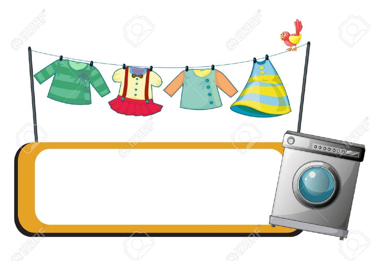 Illustration of a  washing machine with an empty signage and hanging clothes at the back on a white background Stock Vector - 19389561
