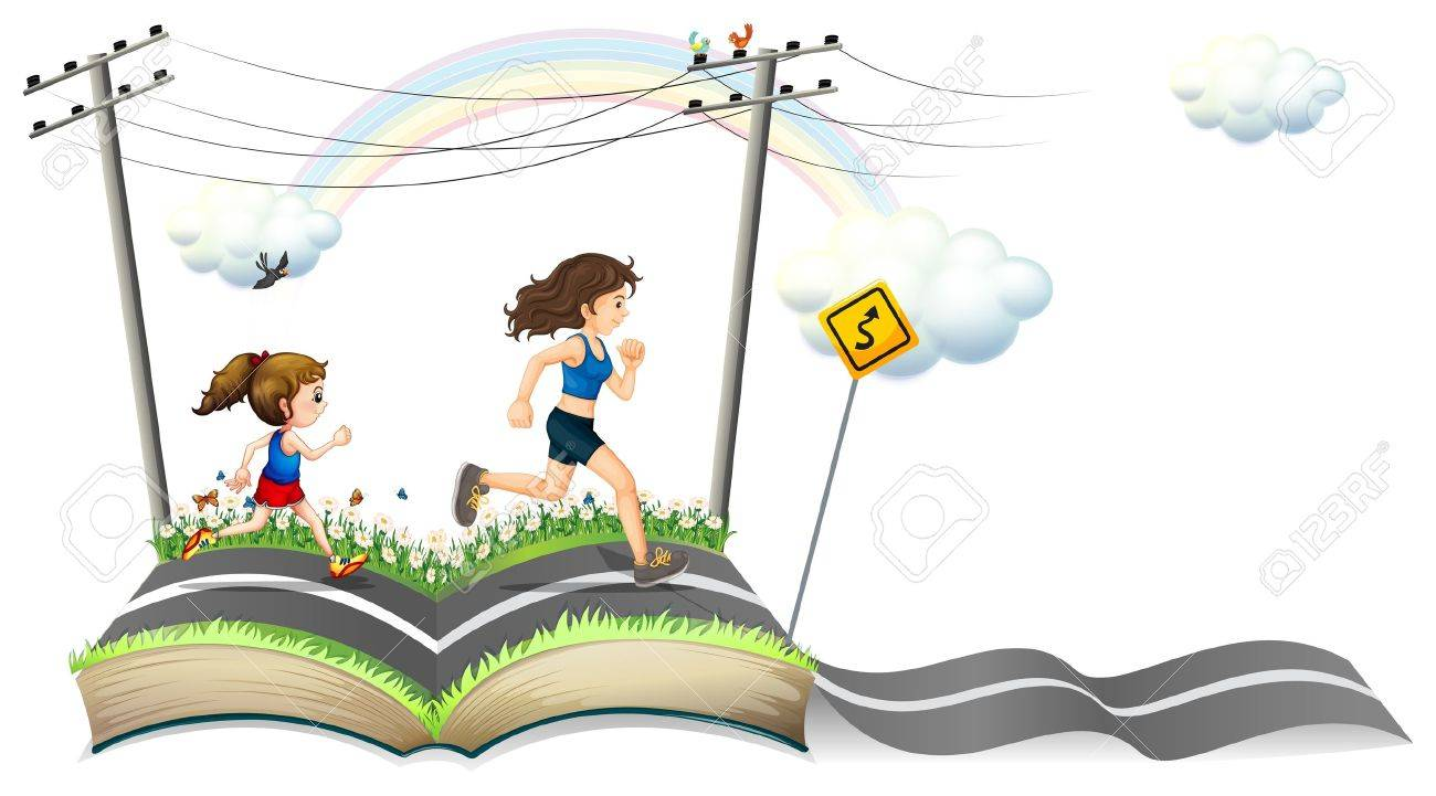 Illustration of a book with a story of the narrow road on a white background Stock Vector - 19390111