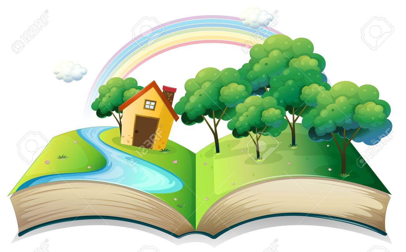 白い背景の上の森で家の物語、本のイラスト ロイヤリティフリー