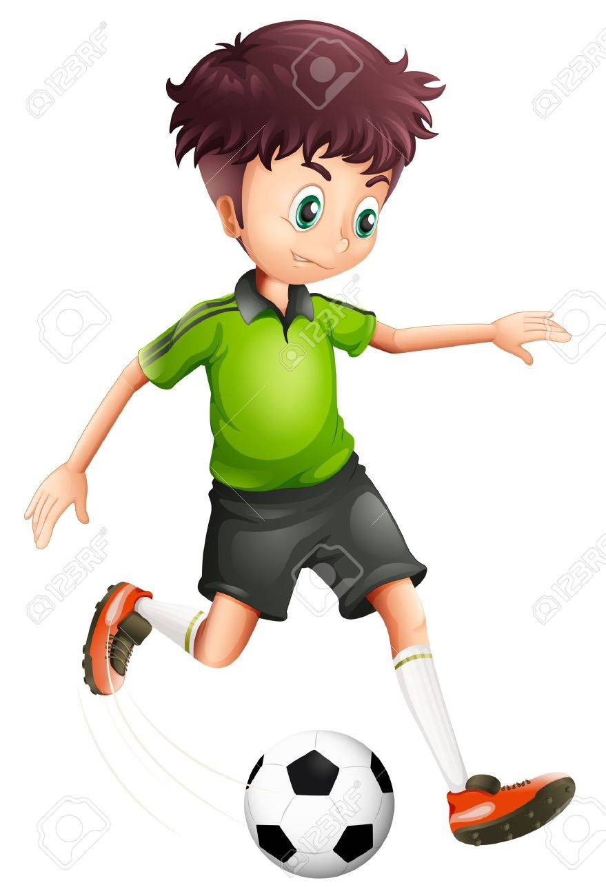 Illustration of a boy with a green shirt playing soccer on a white background - 19389647