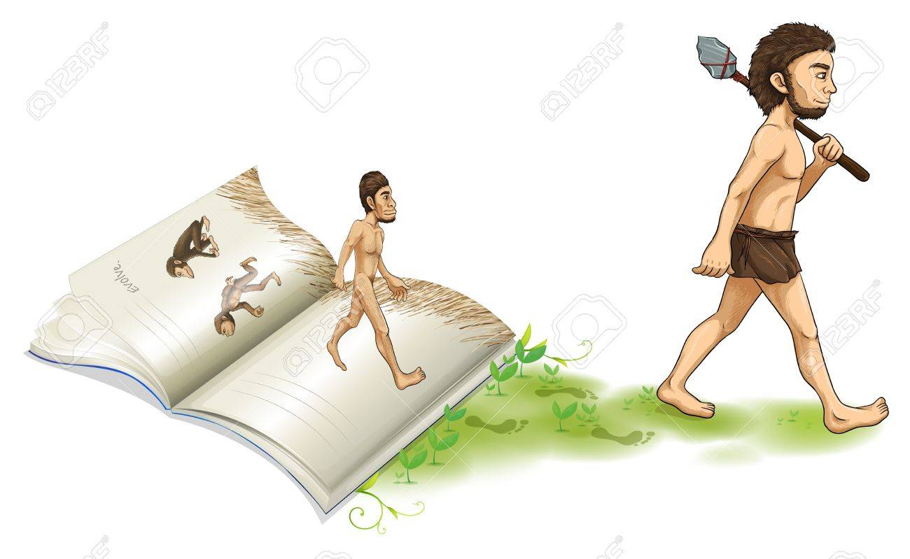 Illustration of a story of the evolution of man on a white background Stock Vector - 19390196