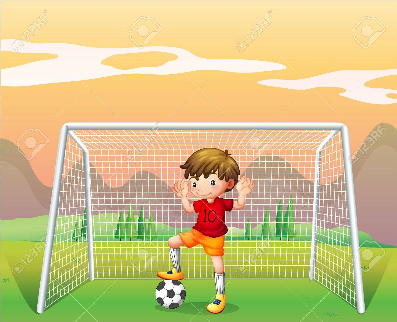 Illustration of a soccer player in a red shirt Stock Vector - 19389538