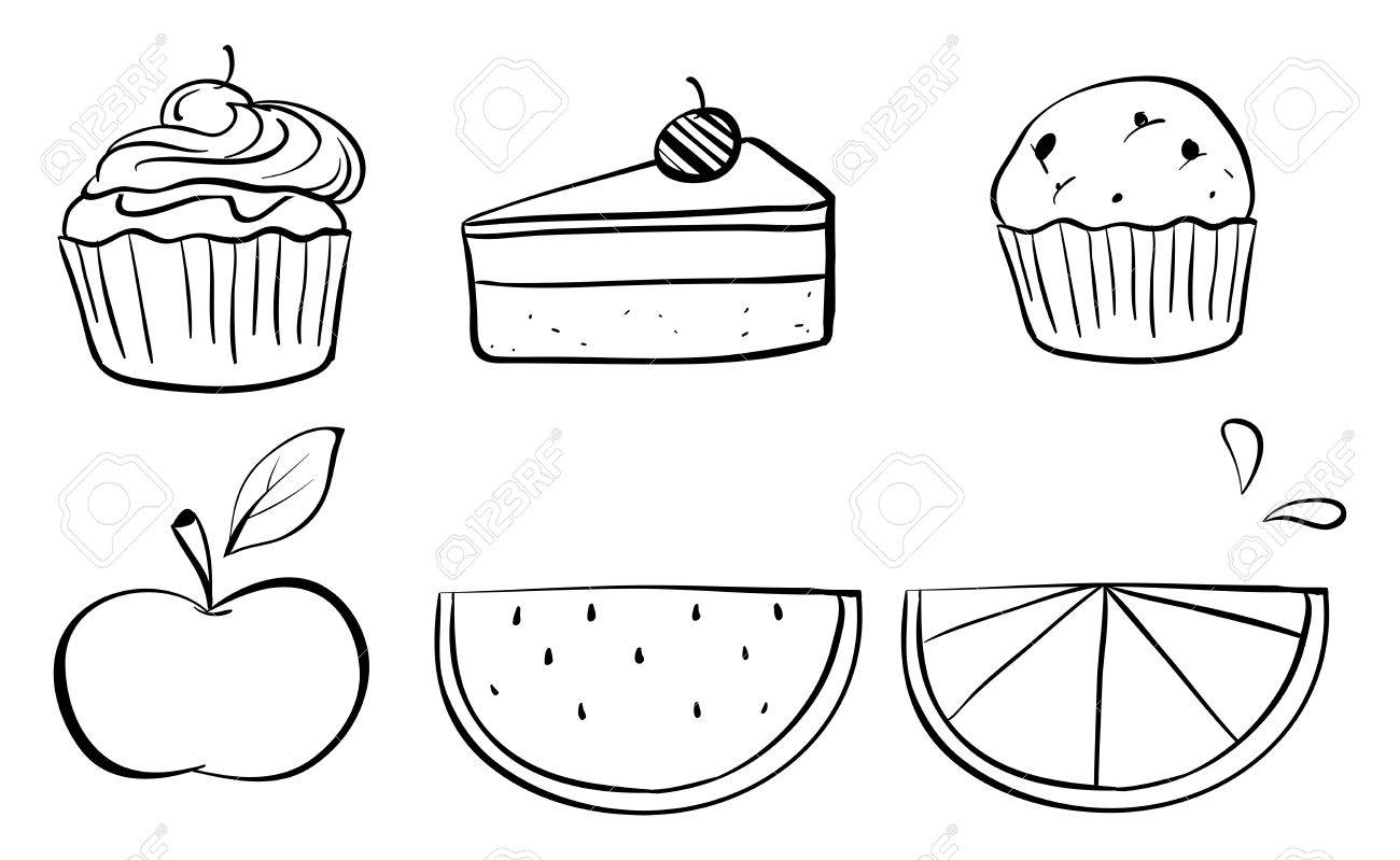 Illustration of the doodle sets of different foods on a white background Stock Vector - 19389803
