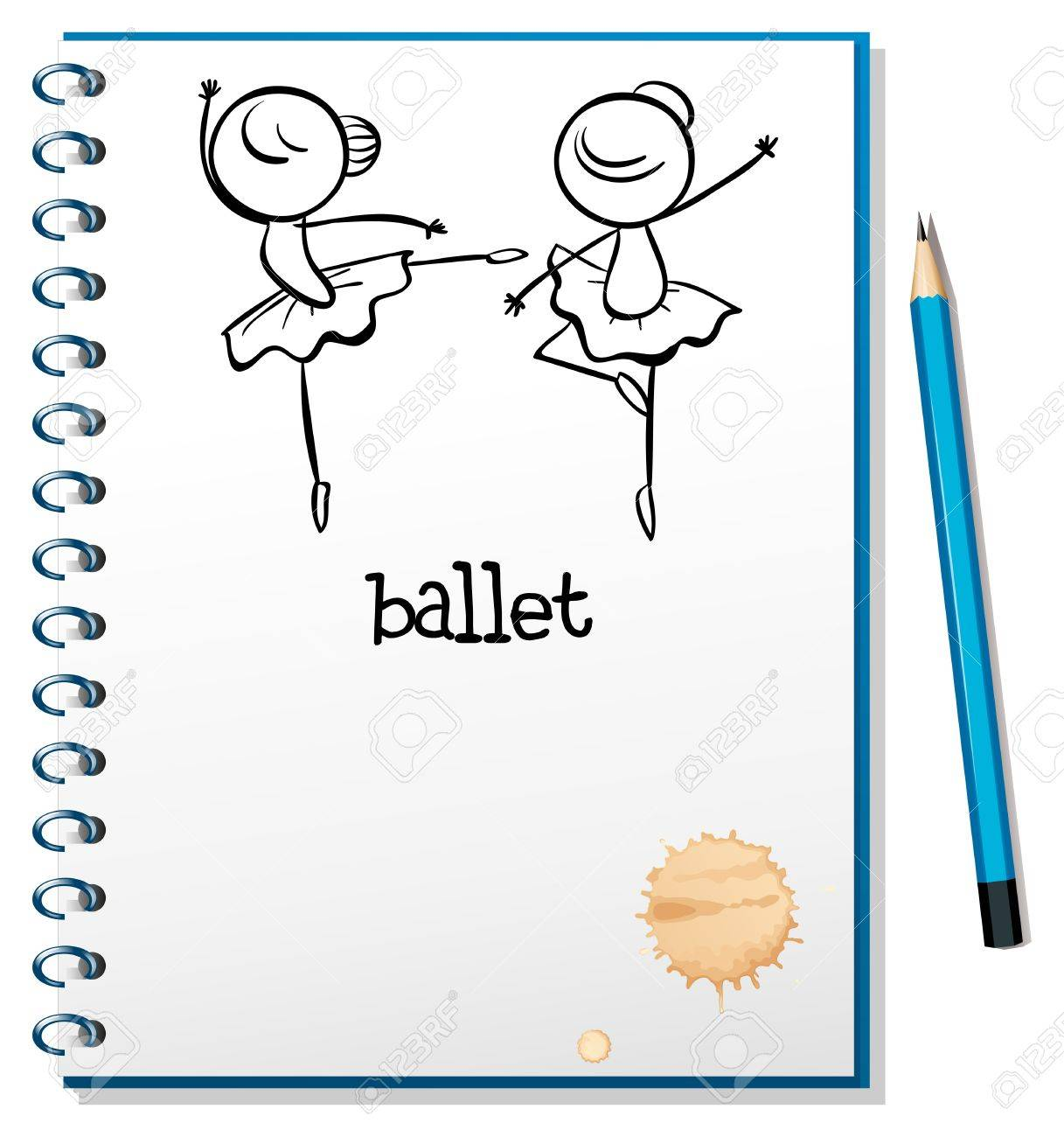 Illustration of a notebook with ballet dancers at the cover page on a white background Stock Vector - 19413691