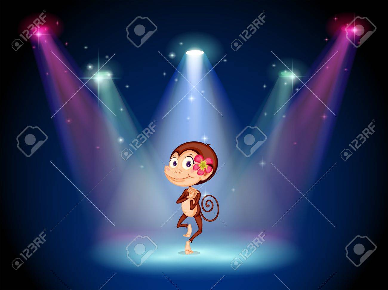 Illustration of a monkey dancing at the center of the stage Stock Vector - 19645339